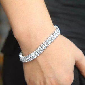 """Double Row Diamond Tennis Bracelet CZ (7.5"""")"""